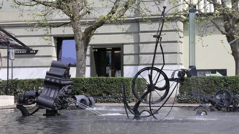 BASEL - APRIL 16: Detail of Tingueli fountain with moving mechanism, shot on April 16, 2013 in Basel, Switzerland