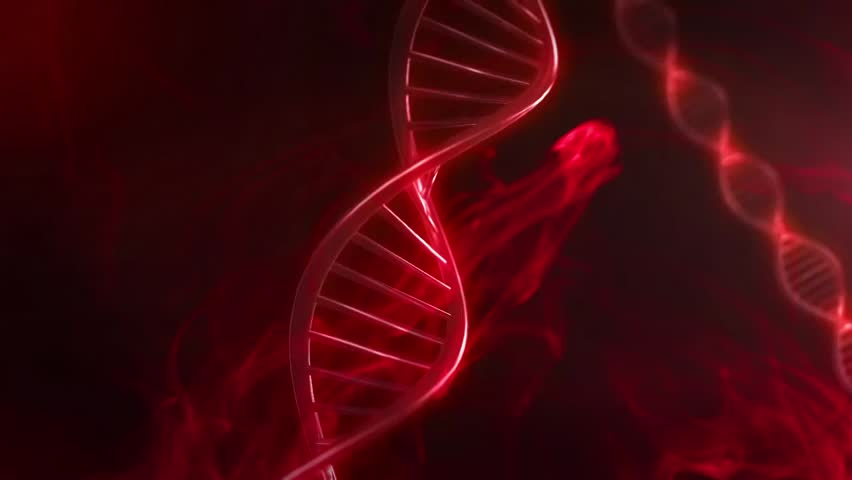 Red DNA Strand slow motion - 3D Animation