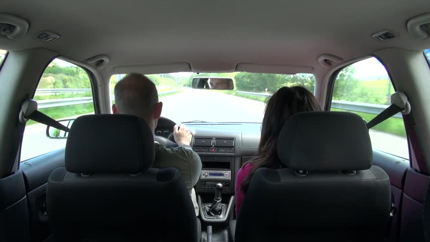 shot from interior of car driving on a highway in Spain