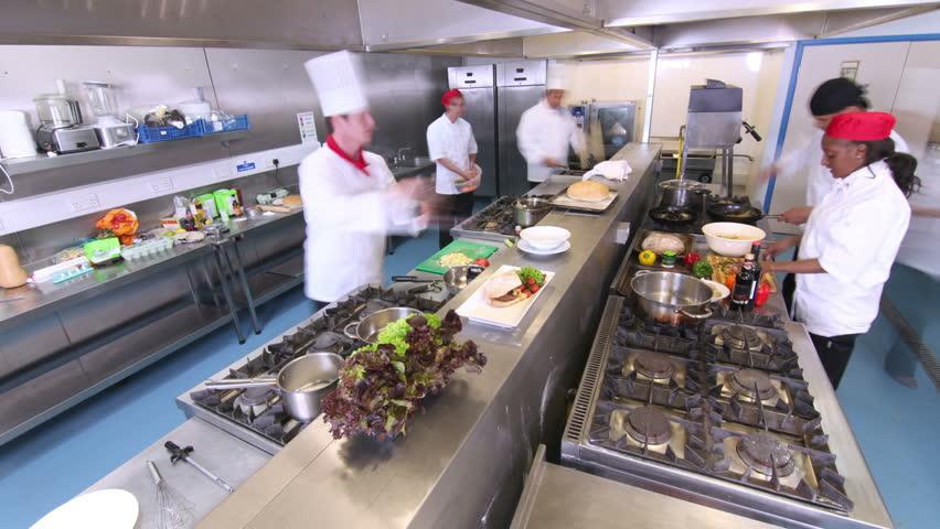Restaurant Kitchen Video busy chef in kitchen in restaurant stock footage video 6091643
