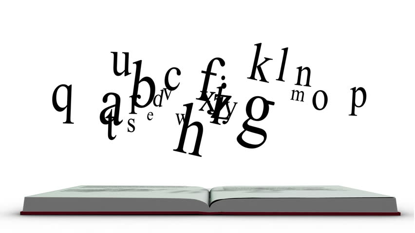 Animation of red book opening and letters floating up on white background
