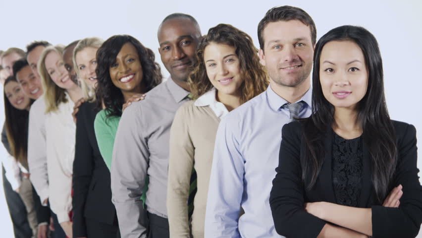 Portrait of a large multi ethnic group of business people standing together, isolated on white in a studio shot.  | Shutterstock HD Video #4010695
