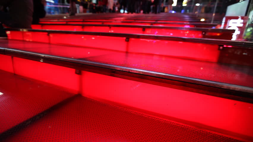 Red Illuminated Steps at Times Square, New York City / HD1080 / 29.97fps | Shutterstock HD Video #401185