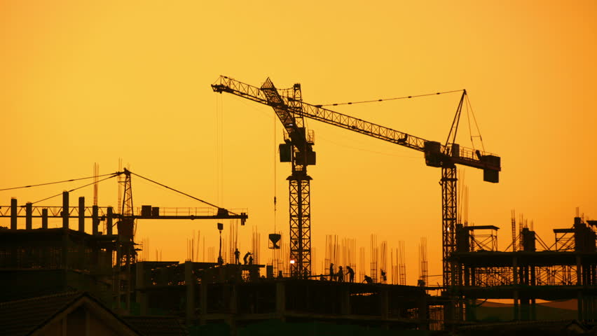 Construction Site At Sunset Timelapse Silhouette Stock