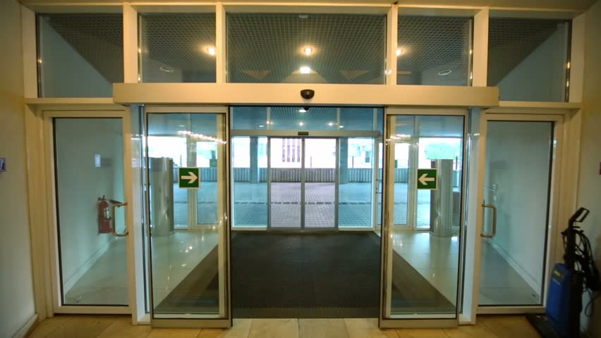 Walk Through Entrance Automatic Glass Door Of Office Building