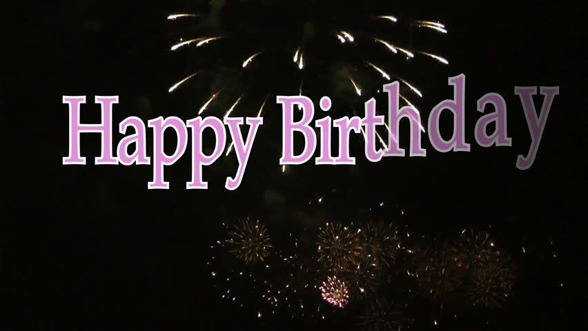 Happy Birthday Animated Text In Pink With Fireworks Display The Background
