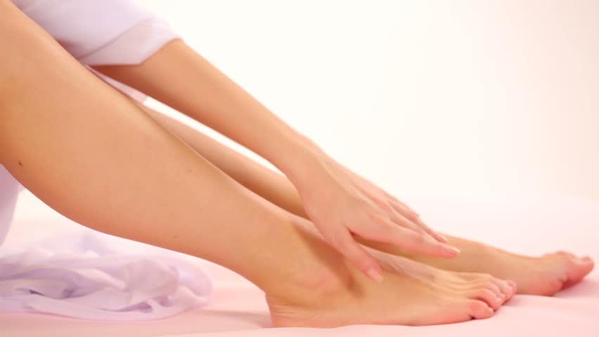 Close-up at beautiful legs of a woman. Beautiful legs.