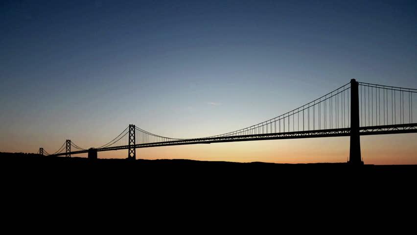 San Francisco bridge starry sunrise.   Shutterstock HD Video #4064638