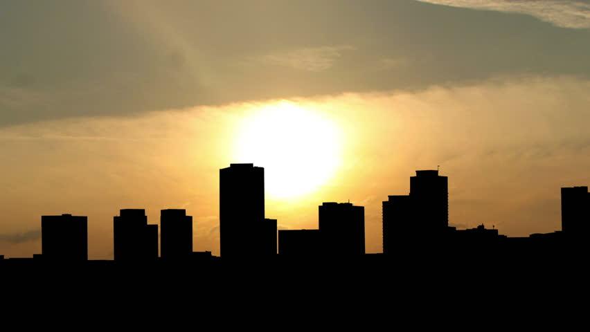 California Long Beach skyline sunrise.