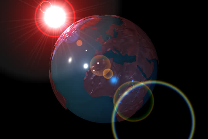 Shining Earth and animated lens flare