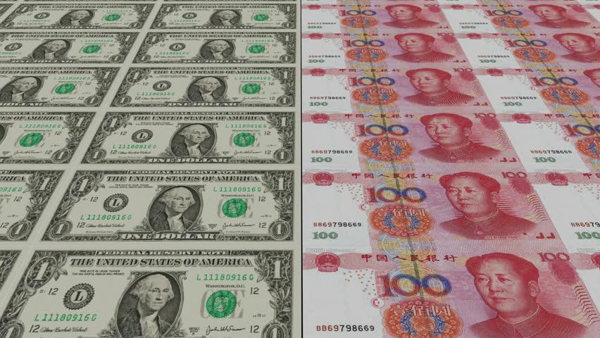 Printing Money Animation 1 Dollar And 100 Rmb Bills