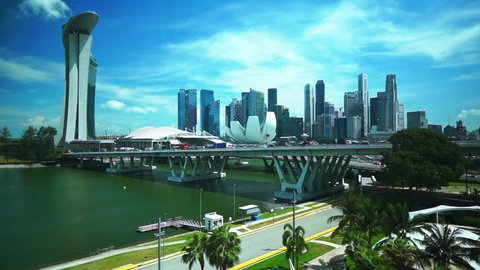 Singapore aerial cityscape view, timelapse