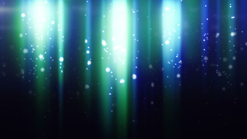 blue particles flying in light beams loop
