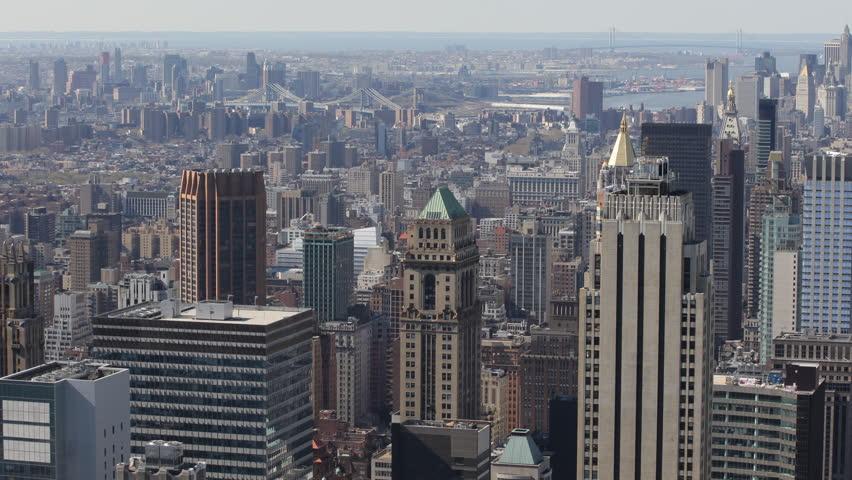 Cityscape Skyscrapers, Aerial View, New York City Skyline, Brooklyn, Manhattan Bridge, East River, USA | Shutterstock HD Video #4096252