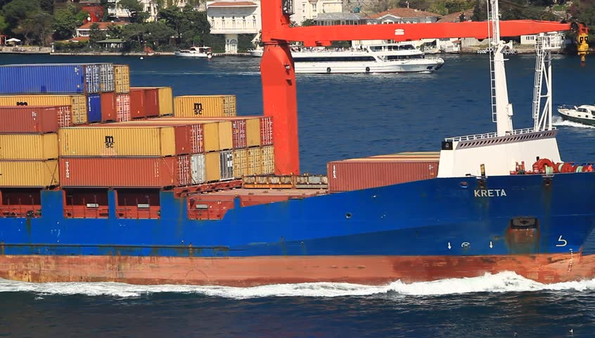 ISTANBUL - APR 13: Container Ship MSC KRETA (IMO: 9139646, Malta) on April 13,
