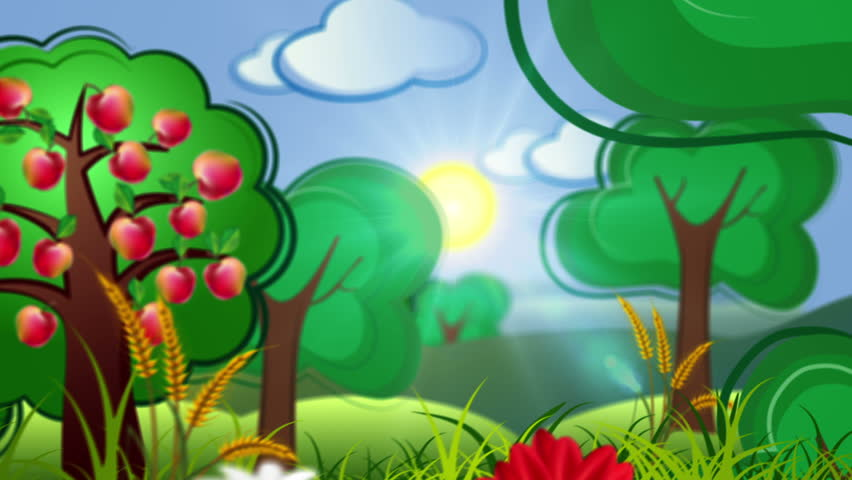 decorative cartoon concept video background with country side and building city. cut out pop up animation.