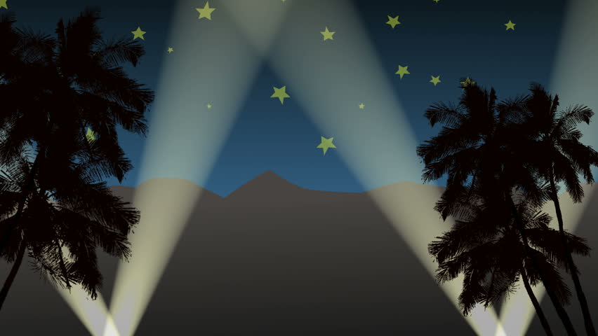 Hollywood Background Loop. A looping Hollywood-like background featuring silhouettes of palm trees, spotlights, stars, and the Hollywood Hills in the back. It's meant to be a little cartoonish.