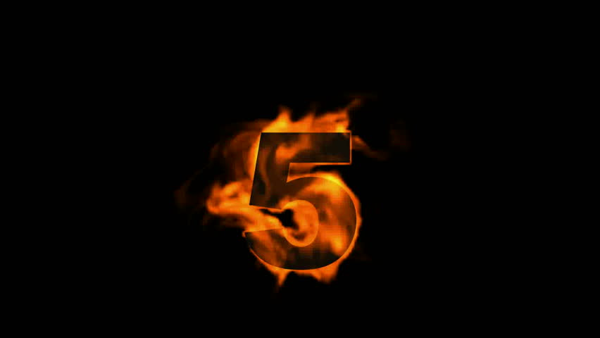 Burning Numbers 6,flames On Black Background. Stock Footage Video ...