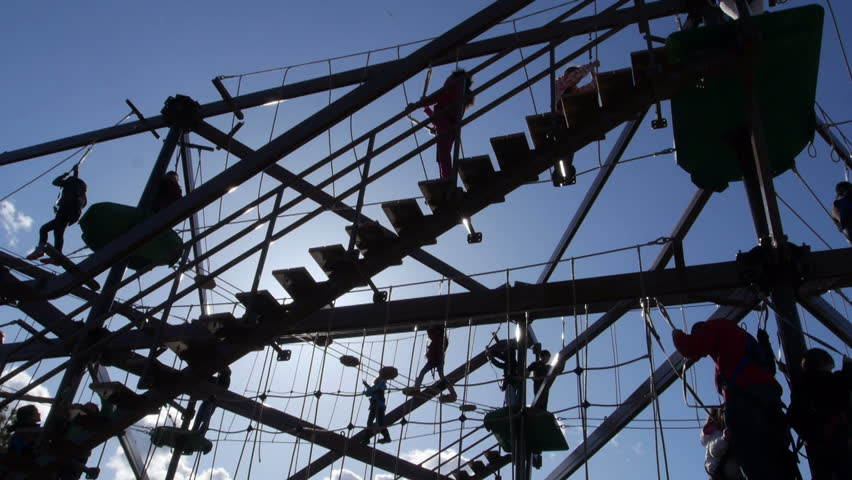 Closeup of silhouetted obstacle course in amusement park #4138645