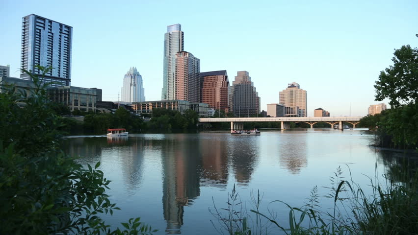 Late light on Lady Bird Lake with Austin skyline in background, Texas, USA
