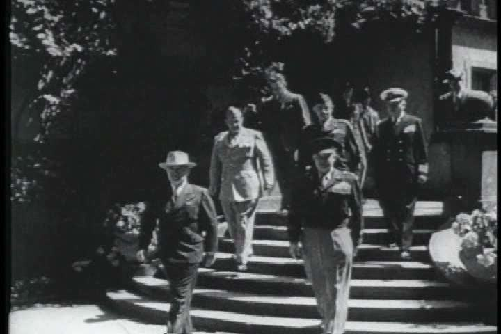 1940s - A film about the United States war effort in the Pacific during World War II - footage of a meeting between the big 3