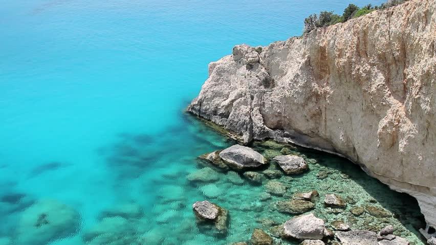 Turquoise waters of Porto Katsiki. Mediterranean island of Lefkada, Greece.