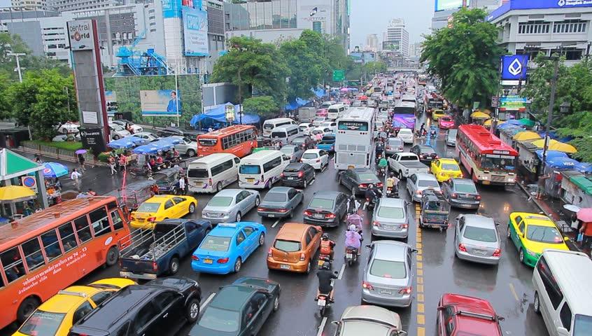 BANGKOK, 13 JUNE:Traffic in central Bangkok on Central World., on 13 June 2013 in Bangkok, Thailand