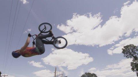 BMXer Back flip Against Blue Sky