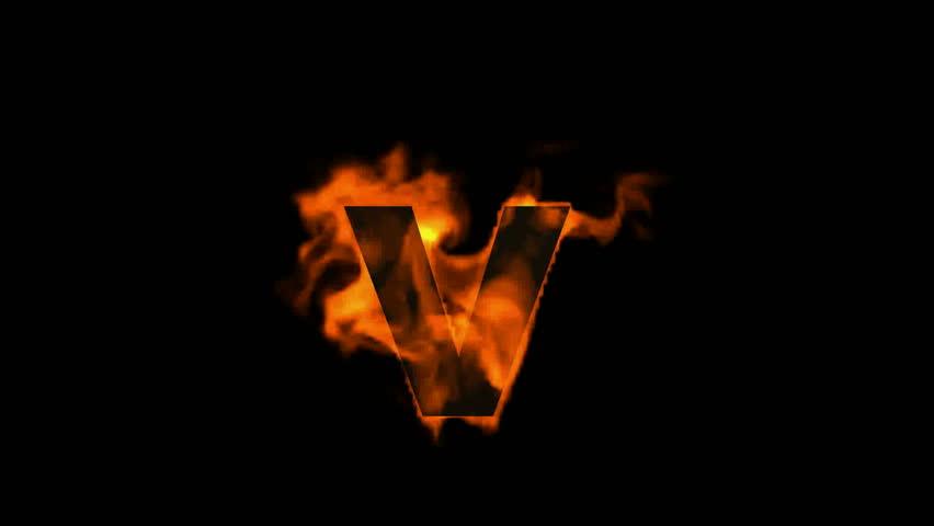 Fire Alphabet V. Stock Footage Video 4162777 | Shutterstock