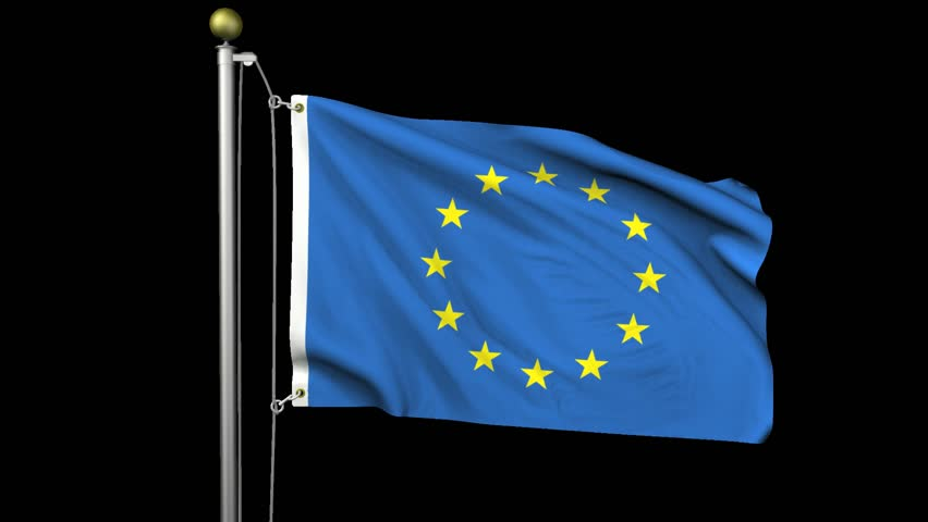 Seamless looping high definition video of the flag of the European Union waving on a flag pole with luma matte included.  Flag has an accurate design and a detailed texture with partial transparency.