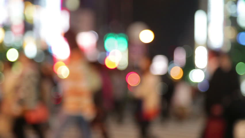 People walking in city night background. Pedestrians walking in city night with lights. Out of focus background from busy big city with people crossing street. Tokyo, Japan. | Shutterstock Video #4195021