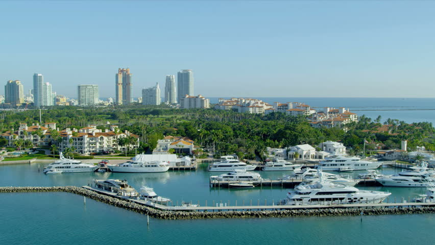 Aerial view Fisher Island exclusive yachts luxury apartments, Biscayne Bay, Miami, Florida, USA