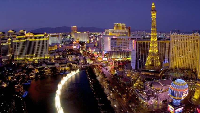 Illuminated View Paris Hotel Eiffel Tower Nr Bellagio Fountains Las Vegas Blvd USA