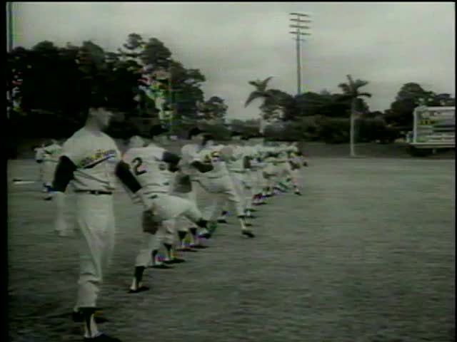 Pitchers of Los Angeles Dodgers practice at the stadium, Vero beach, FL circa 1964-MGM PICTURES, UNIVERSAL-INTERNATIONAL NEWSREEL, USA, filmed in 1964