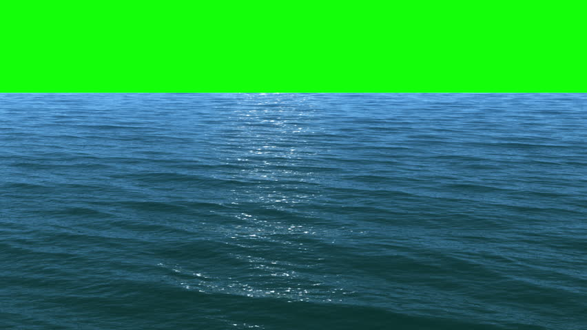 Render of flight over a water surface to green screen ,