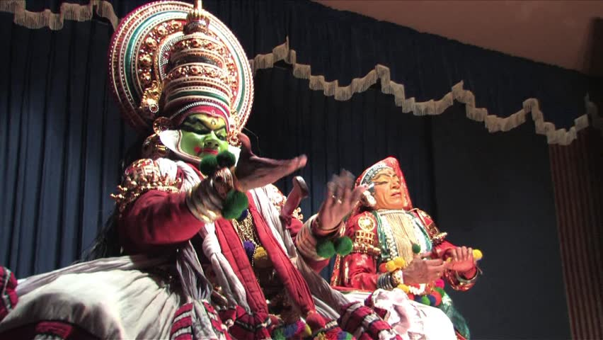 Cochin, Kerala, India - January 25, 2009- Kathakali artists performing on the stage in Thiruvalla, Kerala, India. Kathakali is the traditional classical dance form of Kerala.