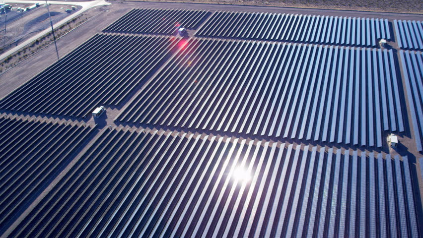 Aerial view Photovoltaic units producing domestic and industrial energy on large scale, USA