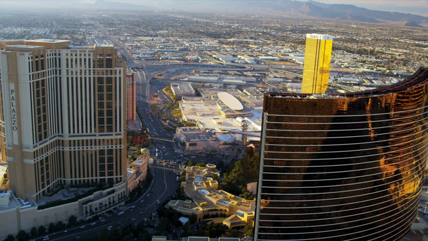 Las Vegas - January 2013: Aerial landscape illuminated view suburban Las Vegas at sunset Hotels and Casinos, Nevada, USA, RED EPIC | Shutterstock HD Video #4243256