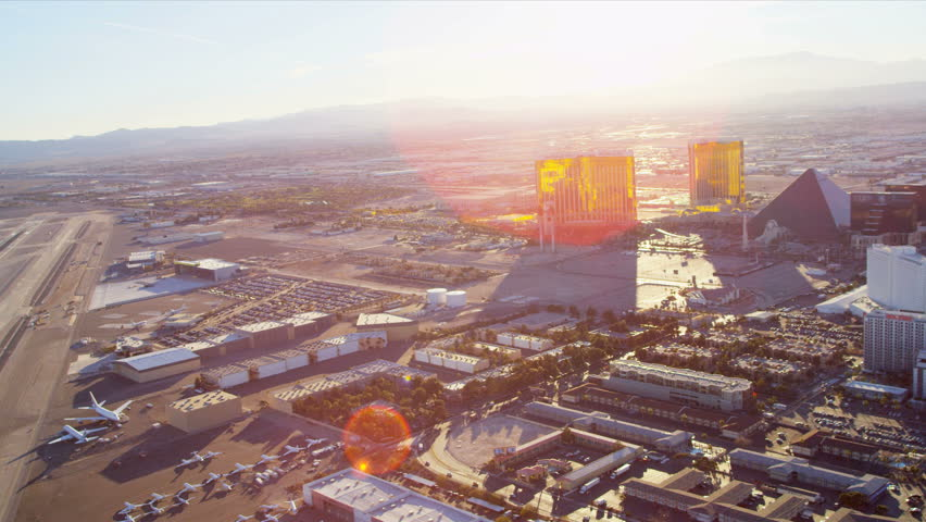 Las Vegas - January 2013: Aerial view McCarran International Airport, Las Vegas, Nevada, USA, RED EPIC | Shutterstock HD Video #4243265