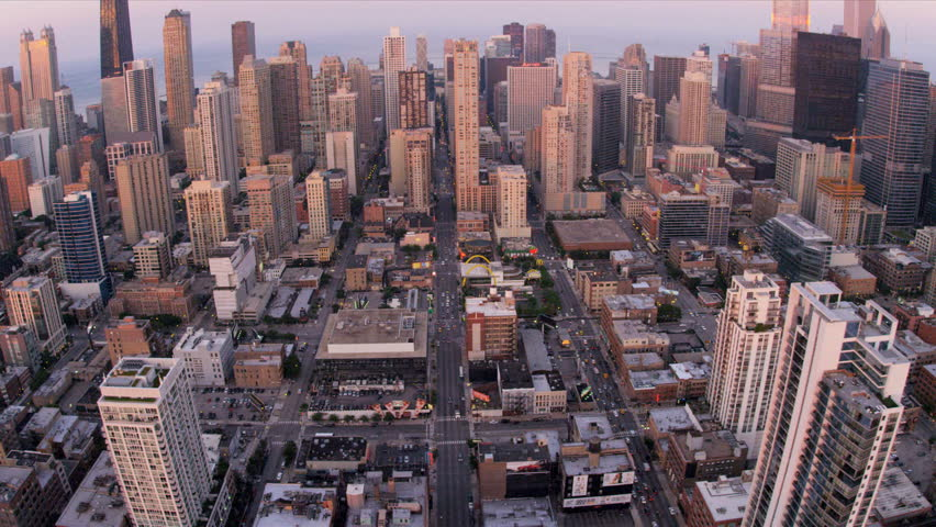 Aerial sunset shoreline view Chicago skyscrapers, Lake Shore Drive, Illinois, USA, shot on RED EPIC   Shutterstock HD Video #4248515