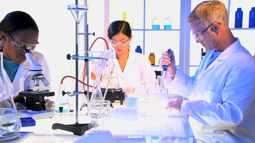 stock video of male female laboratory assistants in protective 4264565 shutterstock