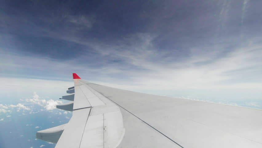 Video 1920x1080 - Wing of passenger airplane - the view through the window