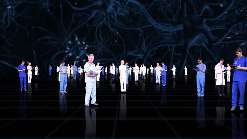 3D montage fly through medical healthcare professionals accessing patient records using modern wireless technology | Shutterstock HD Video #4272335