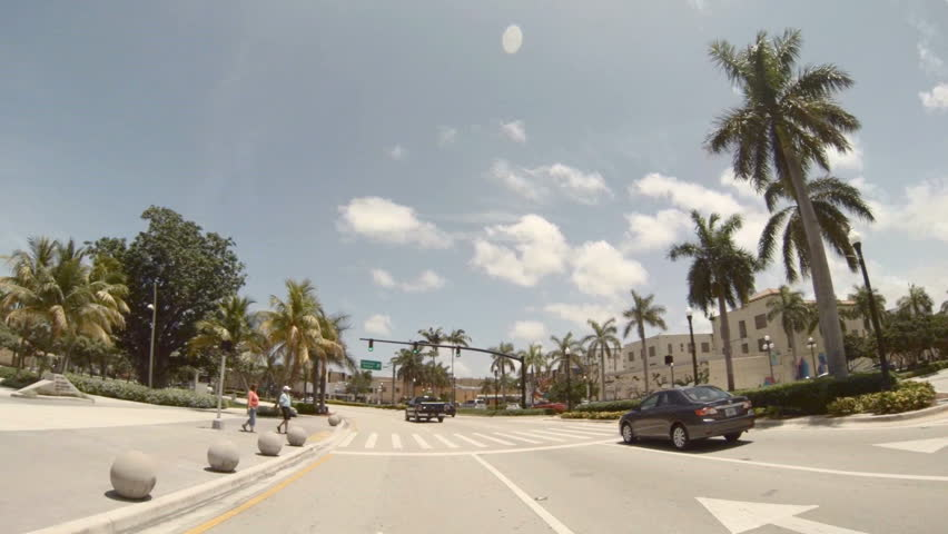 Hollywood, FL - July 15: Footage taken with gopro 3 on a car driving around Young Circle in Hollywood July 15, 2013 in Hollywood, FL. Young Circle is a park that features 10 acres of lush green space.