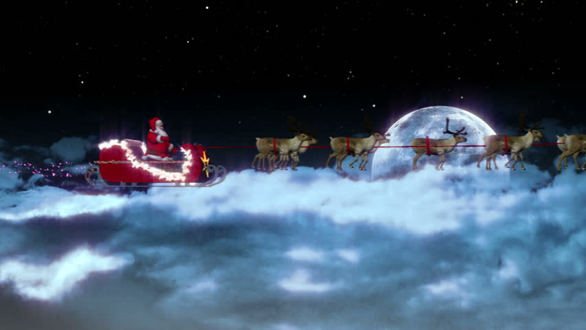 santa and his reindeer with moon side view with zoom stock footage video 4355525 shutterstock - Reindeer With Santa