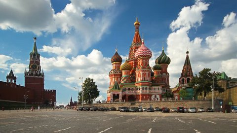 Moscow, Red Square, Kremlin and St. Basil ( Resurrection) Cathedral, time-lapse.