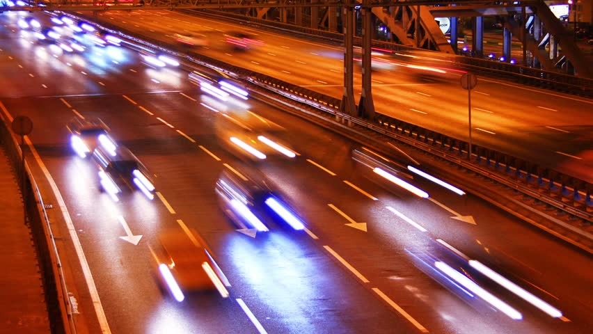 Night city traffic on a freeway, time-lapse. | Shutterstock HD Video #4407275