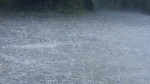 heavy rain hitting the ground