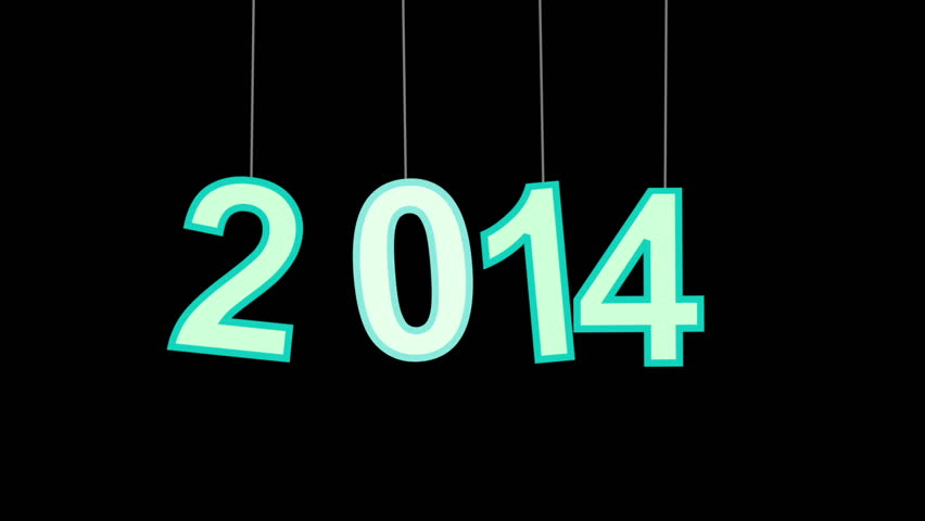 new year 2014 greeting glowing blue particles. last 10 seconds are loopable