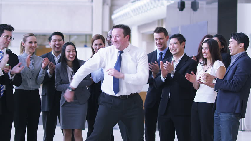 Funny dancing businessman. Excited group of business people clap their strange colleague. | Shutterstock Video #4479470